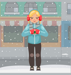 beautiful girl hot drink cup in hands winter vector image
