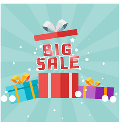 big sale gift box background image vector image