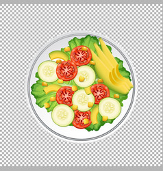 Bowl green salad on transparent background vector