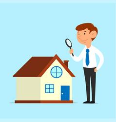 Businessman analyze house vector