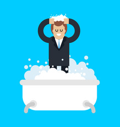 businessman in bath isolated boss washing bath vector image