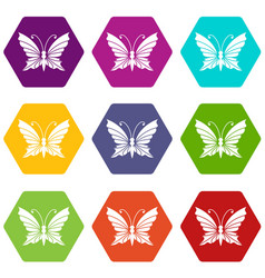 Butterfly with antennae icons set 9 vector