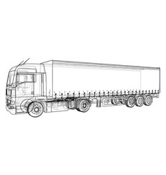 cargo vehicle wire-frame eps10 format vector image