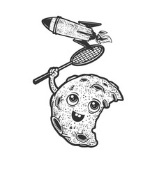 cartoon moon and rocket sketch vector image