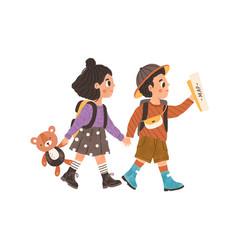 children s adventure concept cute kids walking vector image