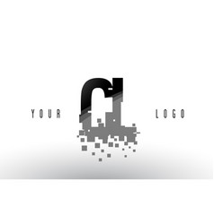 Cl c l pixel letter logo with digital shattered vector