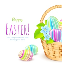 Colorful eggs in basket greeting card template vector