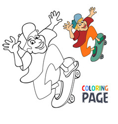 coloring page with skateboard player cartoon vector image