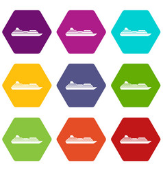 Cruise liner icon set color hexahedron vector