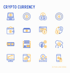 cryptocurrency thin line icons set vector image