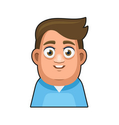 Cute overweight boy avatar character young man vector