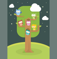 cute owl cartoon in the tree isolated set vector image