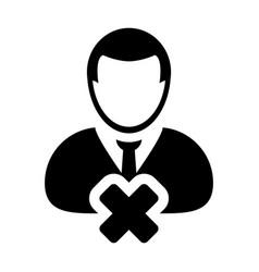 Delete avatar icon male user person profile close vector