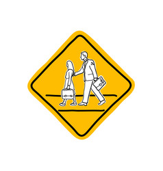 drawing yellow school road warning sign vector image