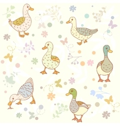ducks seamless pattern vector image