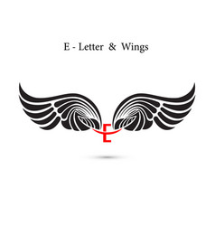 E-letter sign and angel wingsmonogram wing logo vector
