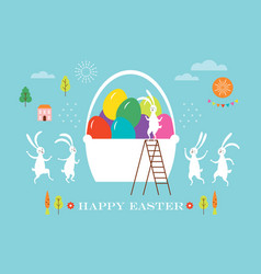 easter scene egg hunt cute bunnies and big baske vector image