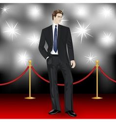 Elegant man in suit on red carpet vector