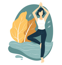 female character practicing yoga fitness and vector image