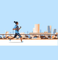 Fitness woman running outdoor african girl vector