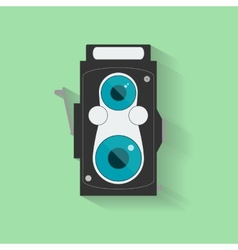 Flat Vintage Camera Icon isolated on green vector image