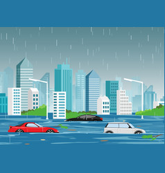 Flood natural disaster in vector