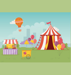 Fun fair carnival tent booth ice cream food city vector