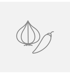 Garlic and chilli line icon vector