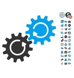Gear Mechanism Rotation Icon With Free Bonus vector