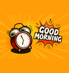 Good morning banner alarm clock wake-up time vector