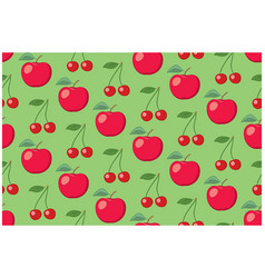 green fruit seamless pattern with apples vector image