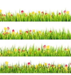 Green grass and beautiful spring flowers eps 10 vector
