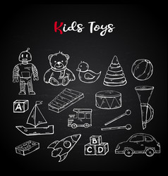hand draw kids toys set in doodle style vector image