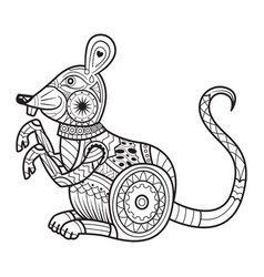 hand drawn mouse for coloring book for adult vector image