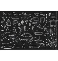 hand drown set on black background pencil vector image