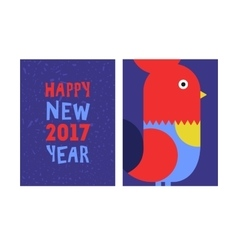 happy new year red rooster greeting card vector image