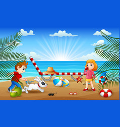 Happy vacation with kids playing at beach vector