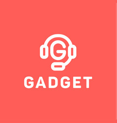 headphones with letter g from center gadget vector image
