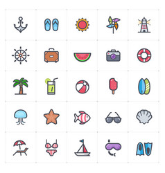icon set - beach full color outline stroke vector image