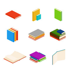 Isometric books encyclopedia dictionary novel vector