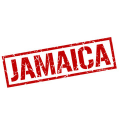 Jamaica red square stamp vector