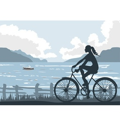 Lady Cycling by the Seaside vector
