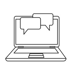 laptop computer with speech bubble vector image