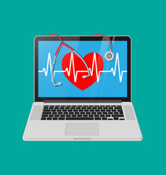 Laptop heart shape with pulse line stethoscope vector