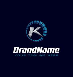 letter k spedometer logo tachometer speed logo vector image