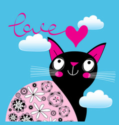 lovely portrait a cat in love with a heart vector image