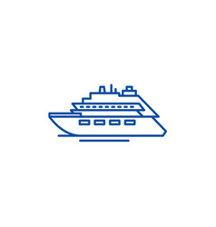 Luxury yacht line icon concept luxury yacht flat vector