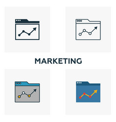 marketing icon set four elements in diferent vector image