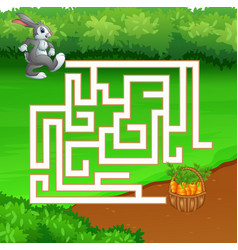maze game of rabbit find the path to carrot vector image