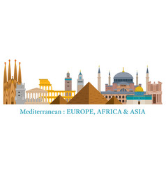 Mediterranean skyline landmarks in flat style vector